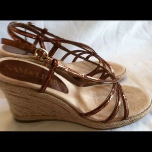 FREE Sam & Libby Bronze Rope Wedge Shoes size 7.5
